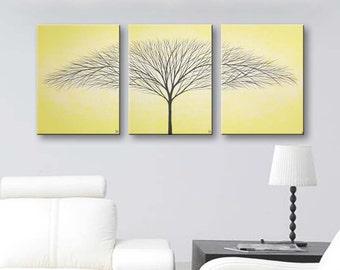 Wall Art Painting Canvas Art Home Decor Tree of Life Wall Decor Wall Hangings Home & Living Room Decor Light Yellow 36x16