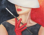 Red Gloves - Fashion Watercolor High Quality Print