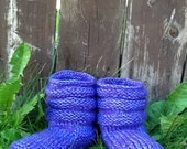 Purple Hand  Knit Mukluk Slippers Custom Made To Order FREE SHIPPING