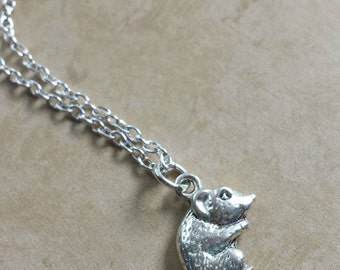 Hamster Necklace - Silver Hamster Charm Necklace