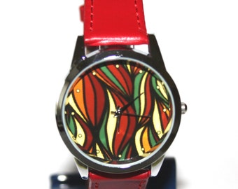 Red leather colourful stripes women watch