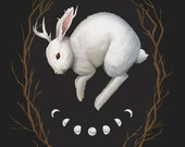 Midnight Run, 8x10 fine art giclee print, jackalope painting, rabbit, cameo, archival print, gothic art, dark nature, occult artwork