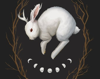 Midnight Run, 8x10 fine art giclee print, jackalope painting, rabbit, witchy, archival print, gothic art, dark nature, occult artwork