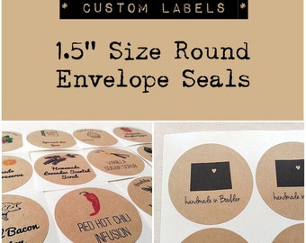 """1.5"""" Custom Stickers Labels Seals. Wedding Seals. Round Labels. Handmade Product Labels. Kraft Stickers. Once Upon Supplies"""