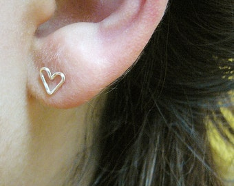 Wire Heart Stud Earrings - gold or silver