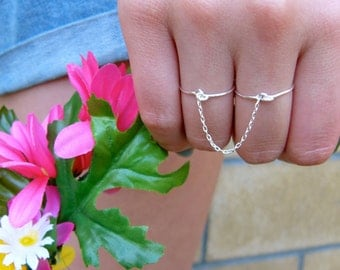 Double Chain Ring - gold or silver