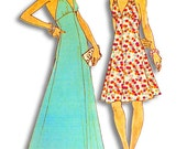 Simplicity 6385 Retro 1970s Misses' Ultra Sexy Halter Dress Sewing Pattern Sz 10