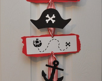 Pirate Birthday Party Door Sign Welcome Me Hearties