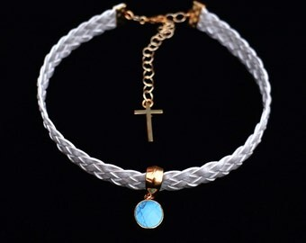White Leather Choker with Turquoise stone