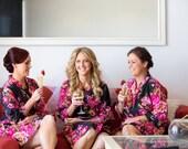 SALE, Set of 3, Bridesmaid robes, kimono crossover, bridesmaids gift, handmade, floral, bridal shower, wedding.