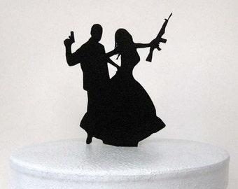 Wedding Cake Topper - Gun and Rifle wedding