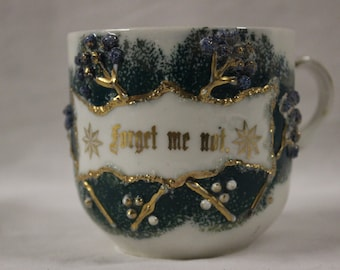 "Antique Decorative ""Forget Me Not"" Cup"