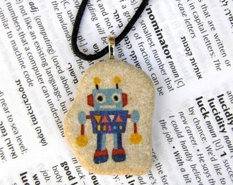 Robot necklace toy necklace robot pendant robot jewelry children jewelry teen jewelry decorated pebble mediterranean stone original gift