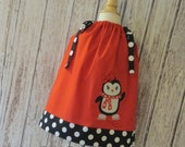 Cute Ice Skating Penguin Pillowcase Dress - Holiday, Winter, Penguin, Pillowcase Dress, Romper, Holiday Dress, Winter, Ice Skating Penguin