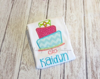 Fun Birthday Cake Appliqued Shirt - Embroidered, Personalized, Monogram, Birthday, Cake, Birthday Cake Shirt, Girls, Boys, Birthday Shirt