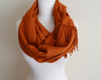 Brown Color Pashmina Infinity Scarf, Fringe Scarf, Circle Scarf, Scarves, Shawls, Extra Long Oversize Infinity Scarf