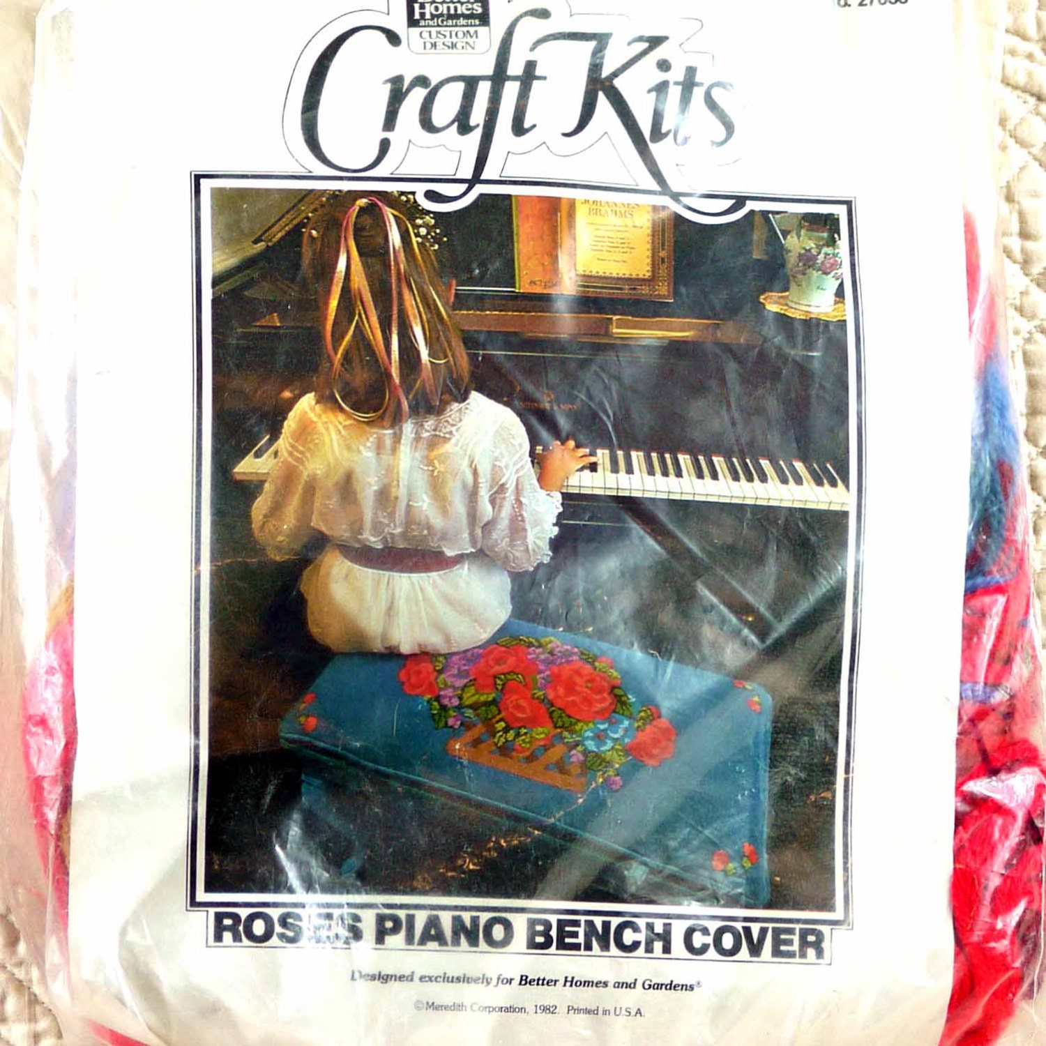 Piano Bench Cover 1982 Vintage Needlepoint Embroidery Kit