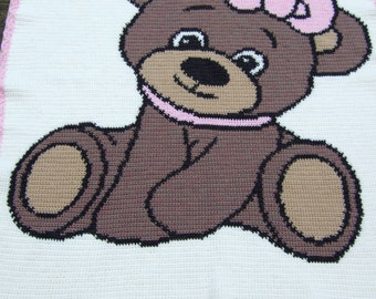 Hand crochet baby blanket or afghan with cute girl teddy bear cot cover throw