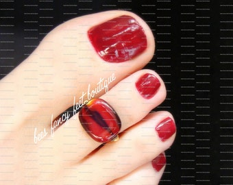 Toe Ring - Red Glass - Lentil Bead - Stretch Bead Toe Ring