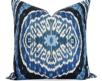 Ikat Duralee Denim Blue Pillow Cover - Invisible Zipper - Linen Pillow - Toss Pillow