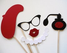 Paris Photo Booth Props . Parisian Photo Booth Props . Photo Booth Props . Paris . Parisian . Glitter . Set of 5