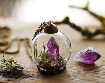 Purple Amethyst crystal necklace , crystal terrarium necklace, quartz point, raw Amethyst, green moss terrarium, gifts for her