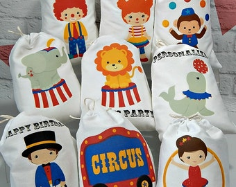 "Birthday Party Favor Bags Circus friends Great for Treat or Gift Bags Personalized  5"" X 7"" or 6"" X 8"" Qty 9"