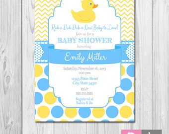 Duck Baby Shower Invitation - Chevron Stripes and Polka Dots - Blue and Yellow - DIY - Printable