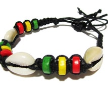 Rasta Hemp Bracelet - Black Hemp Bracelet With Wooden beads and Natural Seashells  - Handmade Design - Jamaican bracelet - Seashell Bracelet