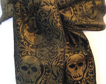 GOLD and BLACK brocade Skull SASH belt Pirate Steampunk Gothic Costume blacklilycat