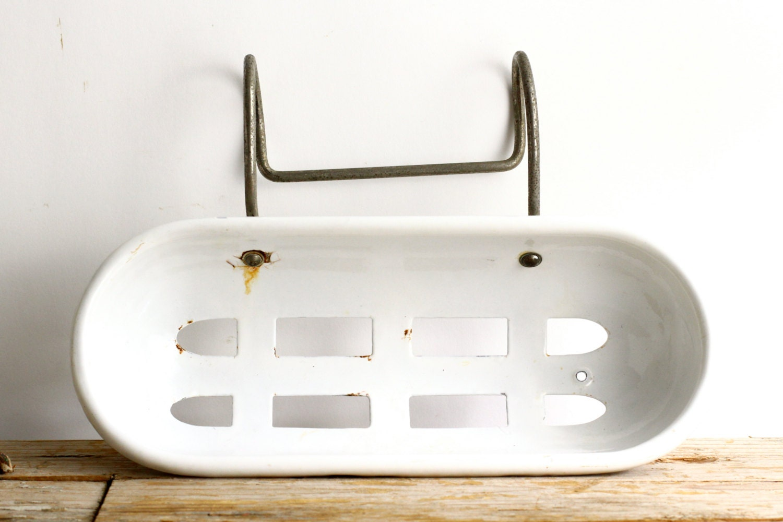 Antique Enamel Soap Dish Tub Caddy Basket For Bath Art