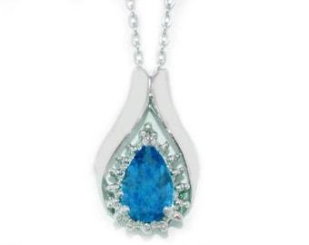 1.5 Ct Tanzanite & Diamond Pear Shape Pendant .925 Sterling Silver Rhodium Finish