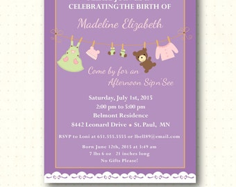 Sip and See Invitations, girl, baby, sip n see, shower, invite, party, purple, bear, sprinkle, digital, printable, invitation SS71741