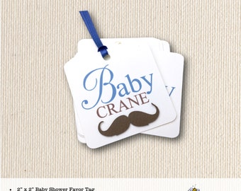 Baby Shower Favor Tag, mustache, boy, personalized, sprinkle, thank you tags, dimensional, 2x2 favor tag T909