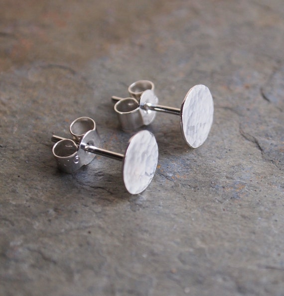 Mens earrings sterling silver stud earrings hammered for Men s jewelry earrings