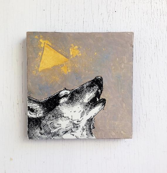 SALE: Wolf Triangles - Original Painting - 23k Gold Leaf - 6x6  Wall Art.  Geometric.  Howl.