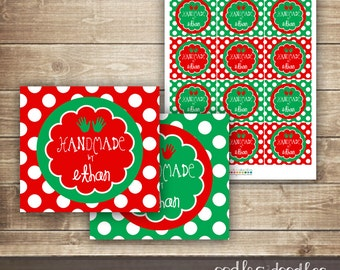 Children's Handmade Gift Tags,  Personalized Favor or Gift Tags, Holiday Gift Labels, Christmas tags  - Printable