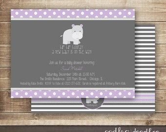 Gender Neutral or Baby Girl Shower Invitation, Hippo Invitation, Hippopotamus Baby Shower, Gray Polka Dots & Stripes, Printed or Printable