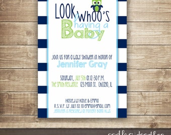 Owl Baby Shower Invitation,  Baby Boy Shower or Baby Sprinkle, Owl Shower, Navy and Lime Green and Turquoise - Printable or Printed