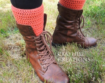 Crochet Boot Cuffs - Boot Toppers - Boot Sock - Coral Boot Cuff - Teen Gift - Women's Gift - Gifts Under 20