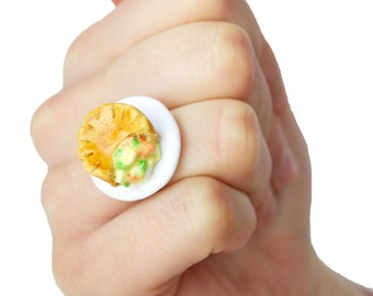 Food Jewelry - Chicken Pot Pie Ring, Savoury, Miniature Food