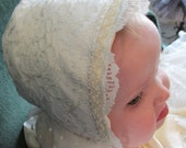 Custom Order to Sandi: Lace covered satin baby bonnet to match Rachel gown previously purchased