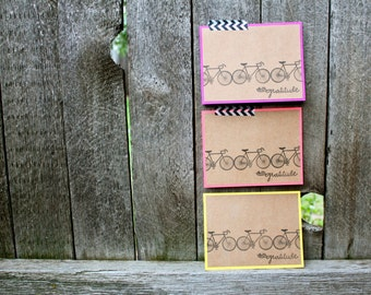 Neon Bicycle Cards, Bicycle Thank You Cards, Bike Cards, Bicycle Notecards, Handmade Thank You Cards, Bicycle cards, Handmade Card Sets