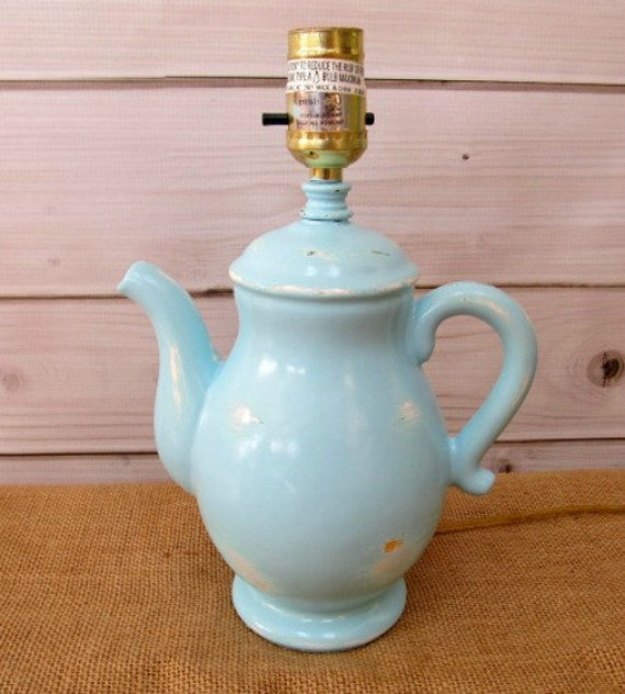 Lamps, Table Lamp, Shabby Chic Baby Nursery Decor Kitchen,Tea Pot Blue Lighting Vintage