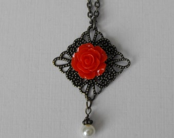 Red Rose Flower  Pearl Necklace Antique Brass Filigree Vintage Style Victorian Inspired Filigree Rose Necklace