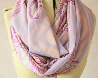 Chiffon - Large Infinity scarf - Eternity scarf, Circle scarf, Chiffon scarf, Tube scarf, Snood  - Pastel Print