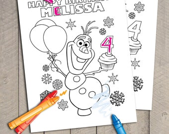 3 Frozen Disney Printable Personalized Olaf Anna And Queen Elsa Birthday Coloring Page Files By