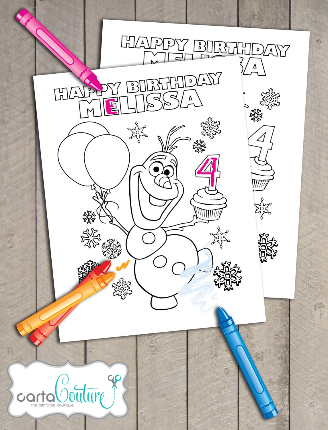 3 Frozen Disney Printable Personalized Olaf Anna and Queen