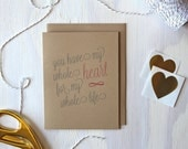Rustic Kraft You Have My Whole Heart Card, Love Note, Mother's Day Card, Rustic Greeting Card, Stationery, Stationary, Valentine's Day Card