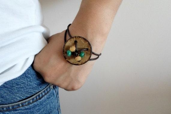 Button bracelet. Dark Brown leather cord Unique